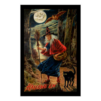 Witch at Halloween Night Poster