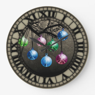 Witch Balls On Branch Wall Clock