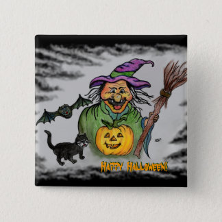 Witch, Bat and Cat, Happy Halloween! Button
