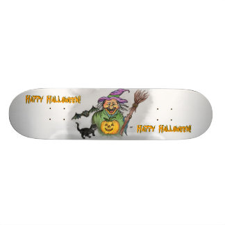 Witch, Bat and Cat, Happy Halloween! Skateboard Deck