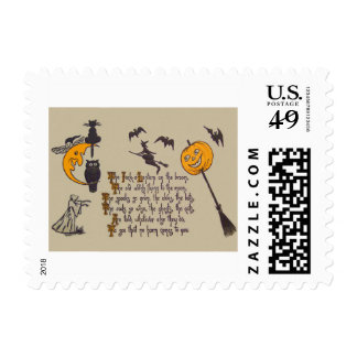 Witch Bat Owl Black Cat Jack O' Lantern Postage