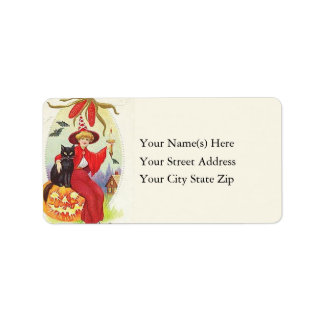 Witch Black Cat and Jack O Lantern Address Label