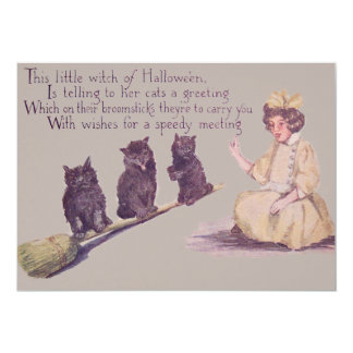 Witch Black Cat Broom Card