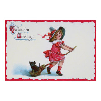Witch Black Cat Broom Poster