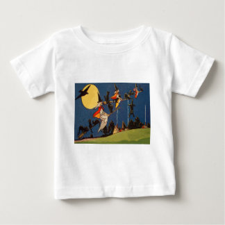 Witch Black Cat Flying Moon Crow Baby T-Shirt