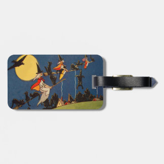 Witch Black Cat Flying Moon Crow Bag Tag
