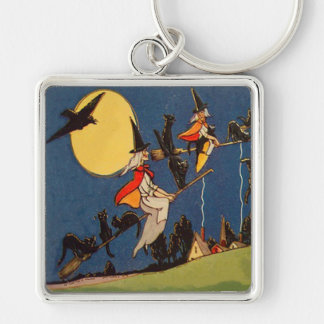Witch Black Cat Flying Moon Crow Keychain