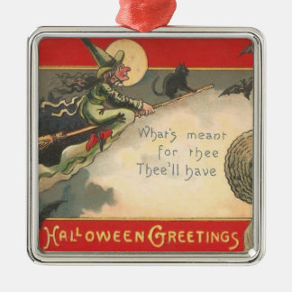 Witch Black Cat Full Moon Bat Tree Woman Night Christmas Tree Ornaments