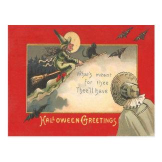 Witch Black Cat Full Moon Bat Tree Woman Night Postcard