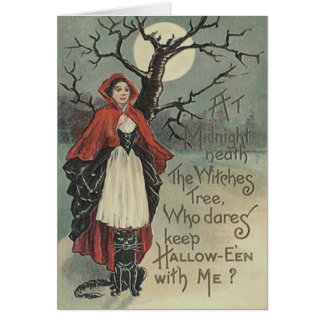 Witch Black Cat Full Moon Card