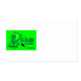 Witch Black Cat Full Moon Cards Green Business Card