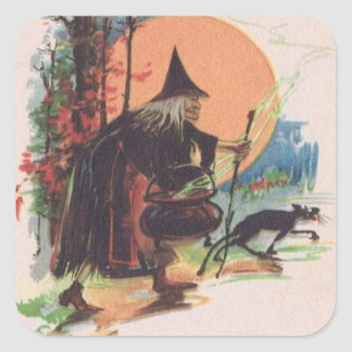 Witch Black Cat Full Moon Square Sticker