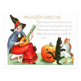 Witch Black Cat Guitar Jack O Lantern Owl Postcard