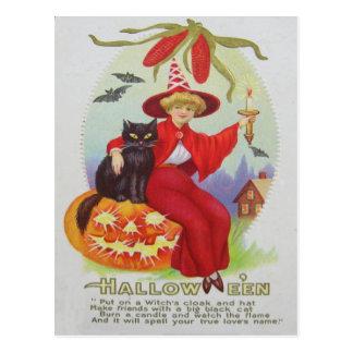 Witch Black Cat Jack O Lantern Bat Corn Postcard