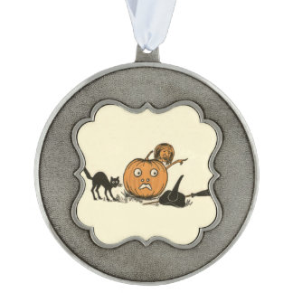 Witch Black Cat Jack O Lantern Pewter Ornament