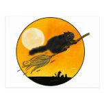 Witch Black cat on broom Postal