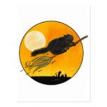 Witch Black cat on broom Tarjetas Postales