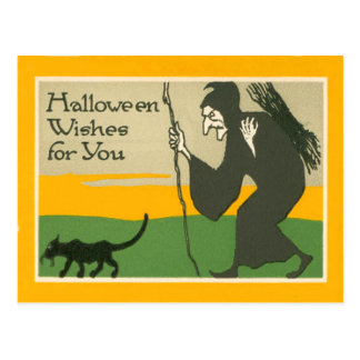 Witch Black Cat Post Card