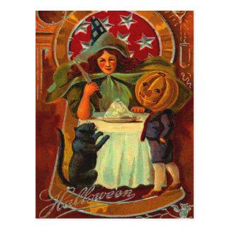Witch & Black Cat Postcard