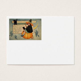 Witch Black Cat Pumpkin Crescent Moon Business Card