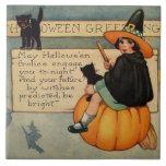 Witch Black Cat Pumpkin Crescent Moon Ceramic Tile