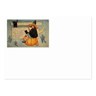 Witch Black Cat Pumpkin Crescent Moon Large Business Card