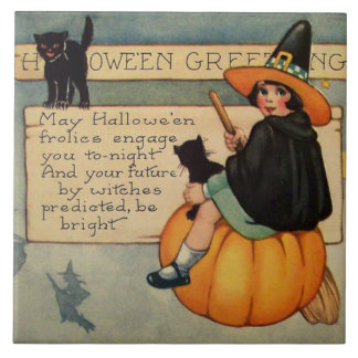 Witch Black Cat Pumpkin Crescent Moon Tile