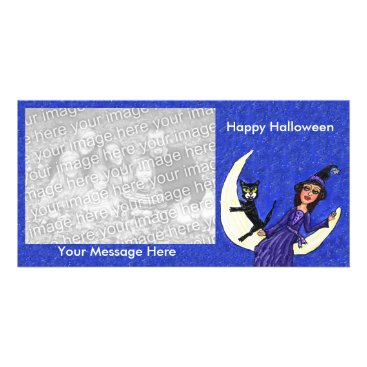 Halloween Themed Witch Black Cat Sitting on white Crescent Moon Card
