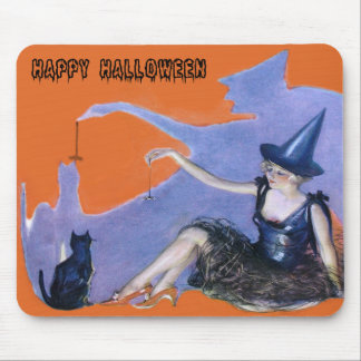 Witch Black Cat Spider Shadow Mouse Pad