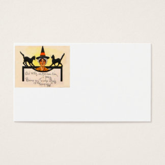Witch Black Cat Vintage Halloween Business Card