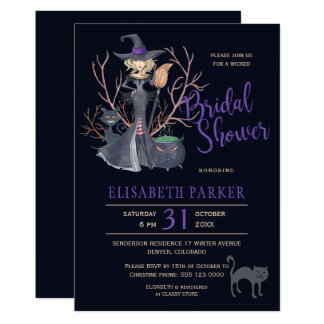 Witch black cats Halloween bridal shower party Card