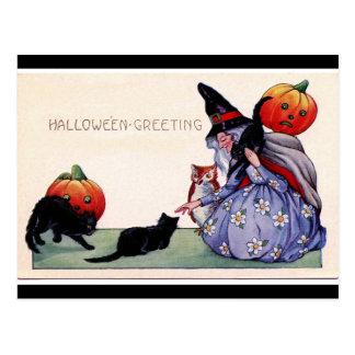 Witch Black Cats Owl Halloween Postcard