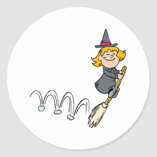 Witch bouncing with broom classic round sticker