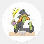 Witch brewing postion round sticker