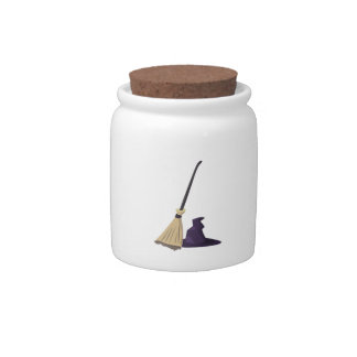 Witch Broom and Hat Candy Jar