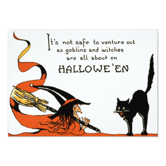 Witch Broom Black Cat Card