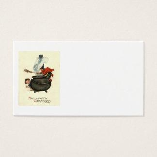 Witch Broom Black Cat Cauldron Smoke Business Card