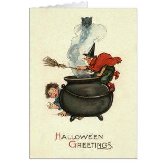 Witch Broom Black Cat Cauldron Smoke Card