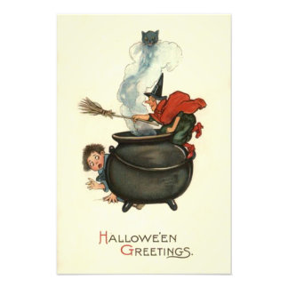 Witch Broom Black Cat Cauldron Smoke Photo Print