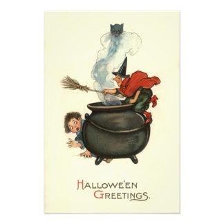 Witch Broom Black Cat Cauldron Smoke Photo Art