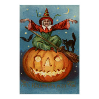 Witch Broom Black Cat Jack O Lantern Owl Poster