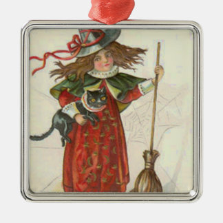 Witch Broom Black Cat Metal Ornament