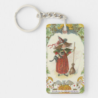 Witch Broom Black Cat Playing Cards Bat Keychain