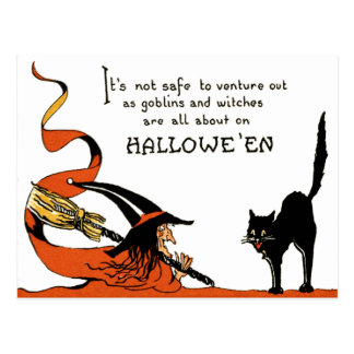 Witch Broom Black Cat Postcard