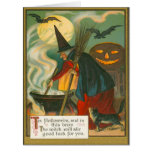 Witch Broom Cauldron Jack O Lantern Bat Cat Card