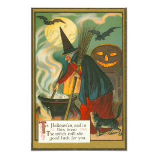Witch Broom Cauldron Jack O Lantern Bat Cat Photo
