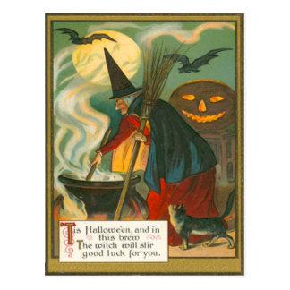 Witch Broom Cauldron Jack O Lantern Bat Cat Postcard