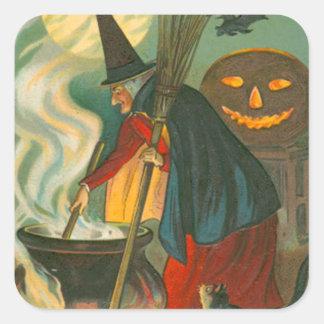 Witch Broom Cauldron Jack O Lantern Bat Cat Square Sticker