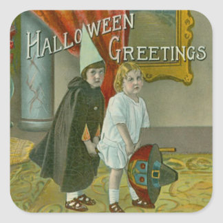 Witch Broom Children Costume Trick Or Treat Square Sticker