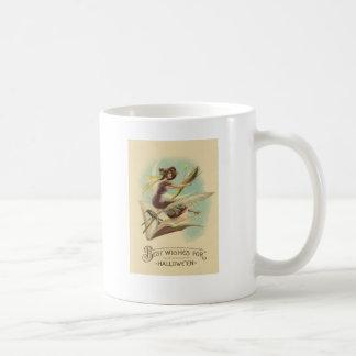 Witch Broom Crescent Moon Book Raven Coffee Mug